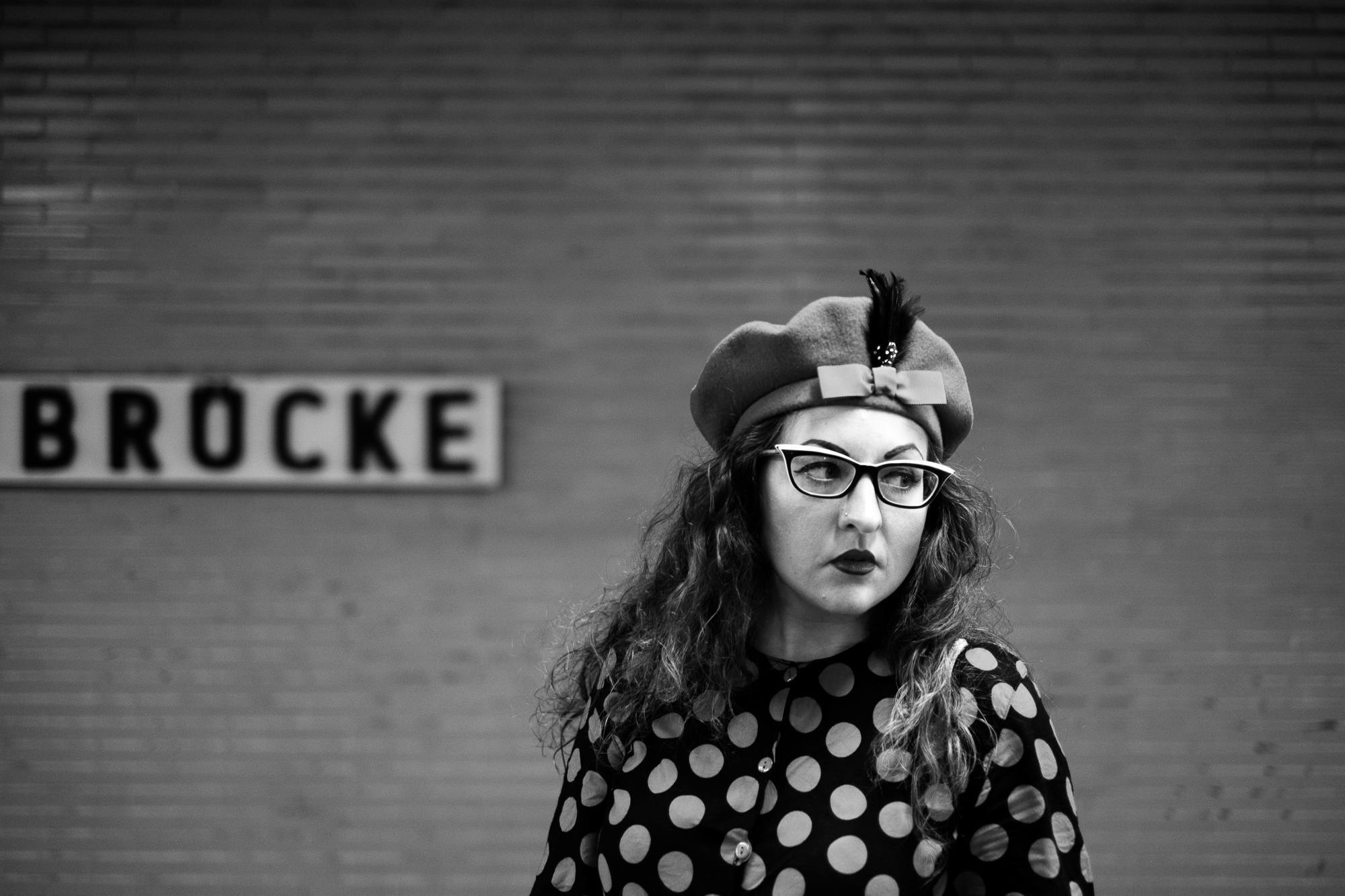A portrait of a girl, Natalie waiting in a Berlin subway station