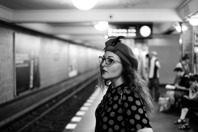 A portrait of a girl, Natalie, waiting in a Berlin subway station