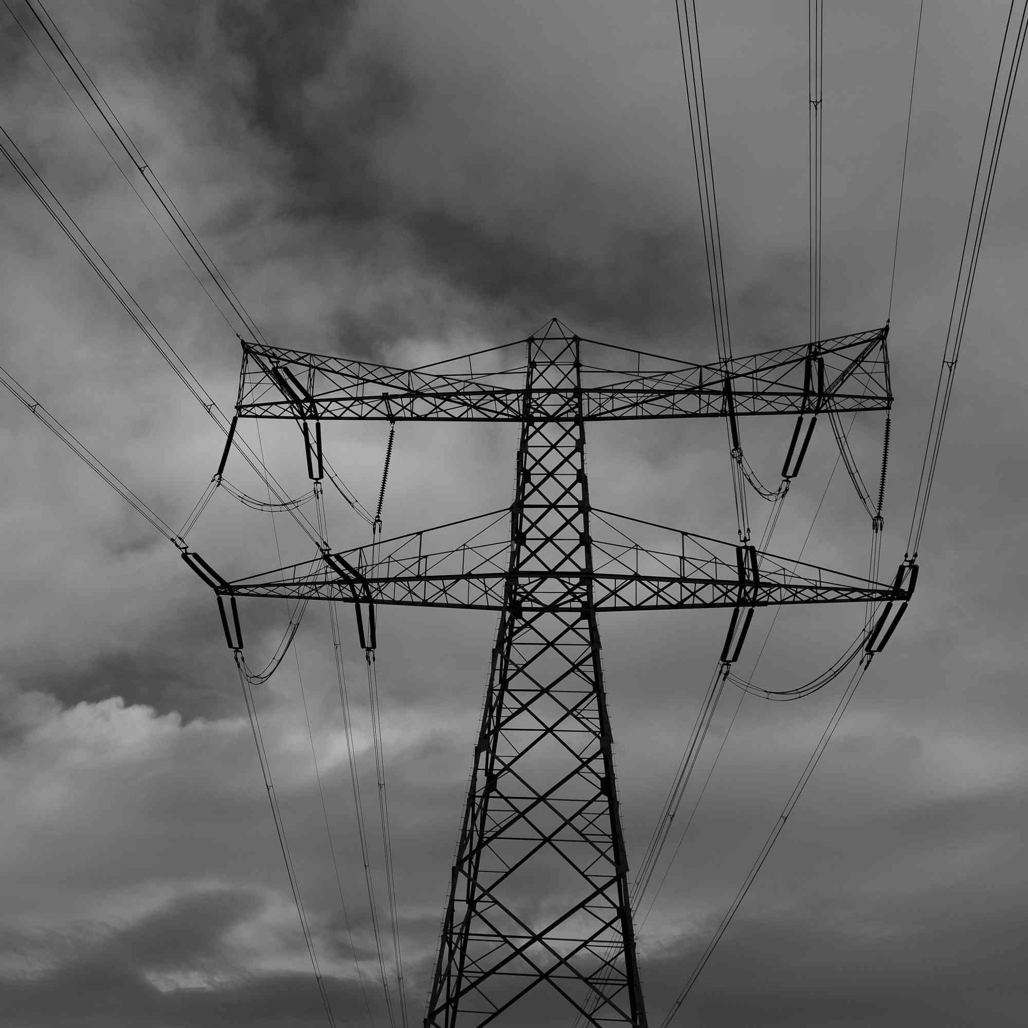 Powerlines and dark clouds