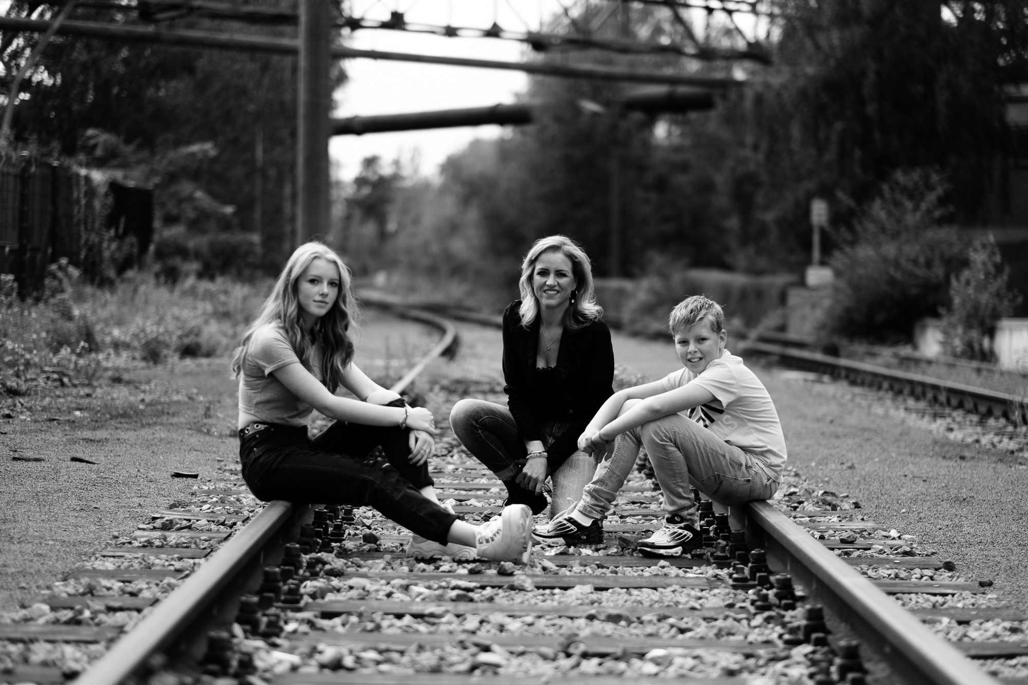 Family photo on traintracks
