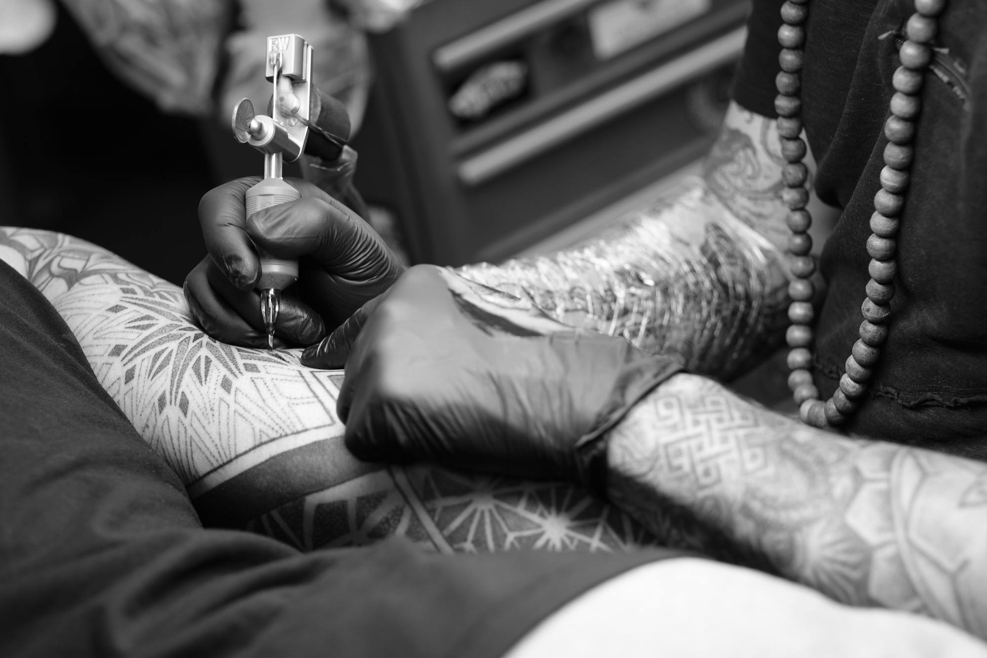 Close up of a tattoo being done