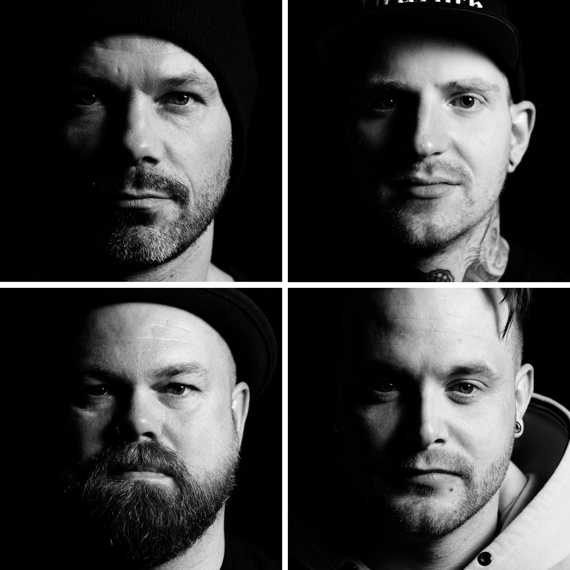 4 square portraits of Inkmen tattoo artists