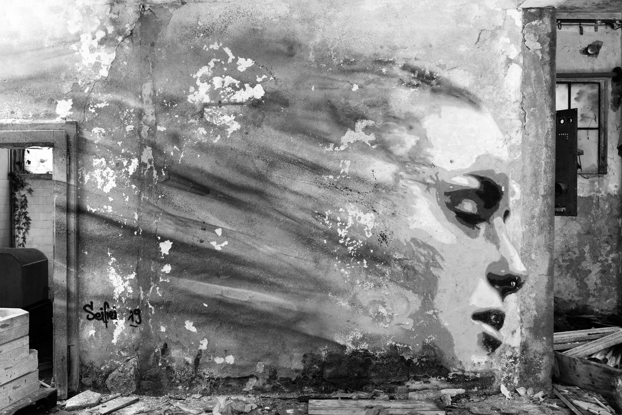 Graffiti of a female face