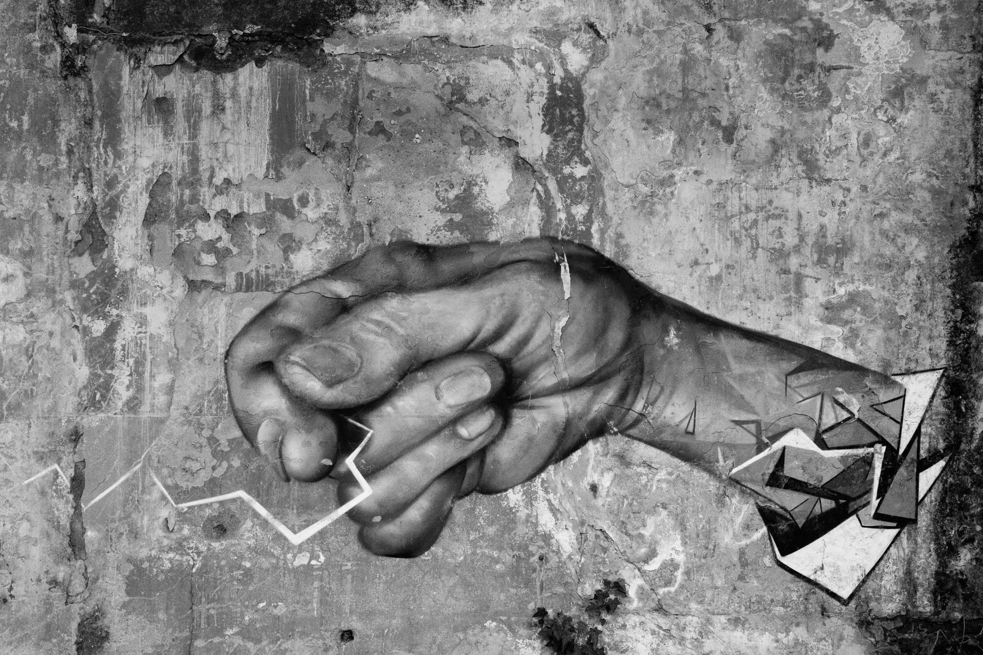 Graffiti of a hand with lightning