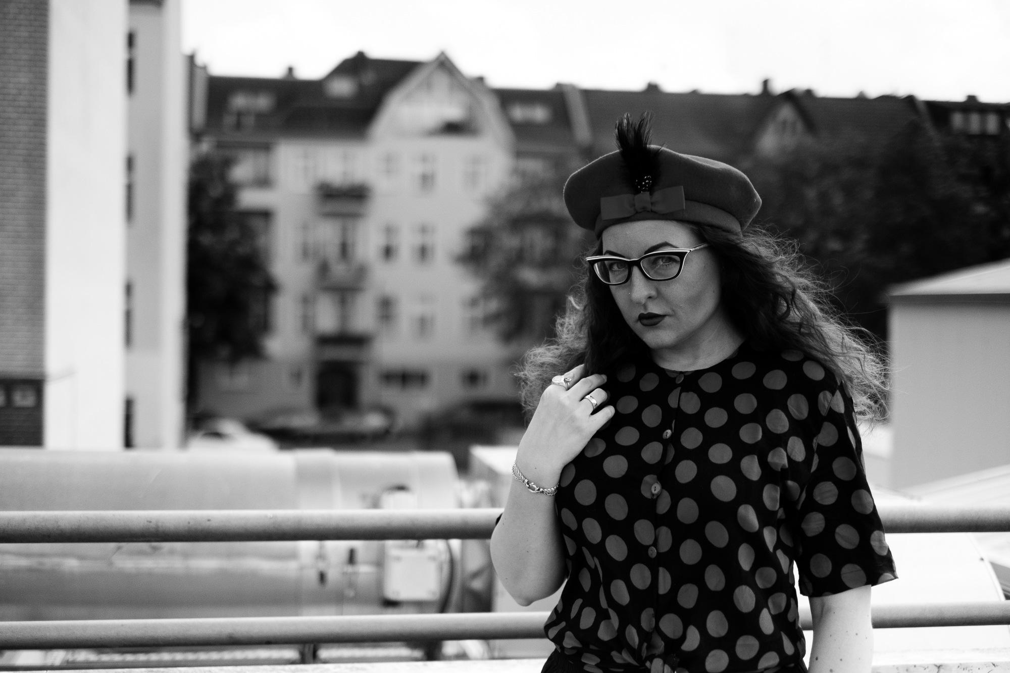 Girl posing on parking deck in Berlin
