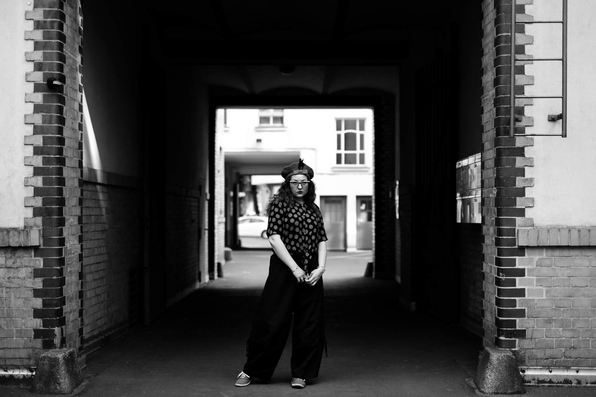 Girl posing in underpass